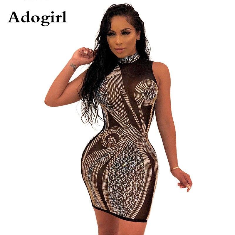 2020 primavera diamantes preto malha perspectiva mini vestido feminino gola alta bodycon vestido elegante noite clube vestidos de festa