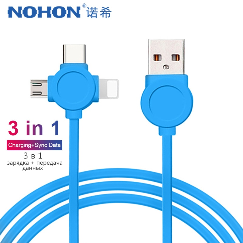 Cable de carga USB de datos NOHON TPE 3 en 1 iluminación para iPhone X XS MAX XR 8 Micro USB tipo C línea de carga de teléfono Android para Xiaomi