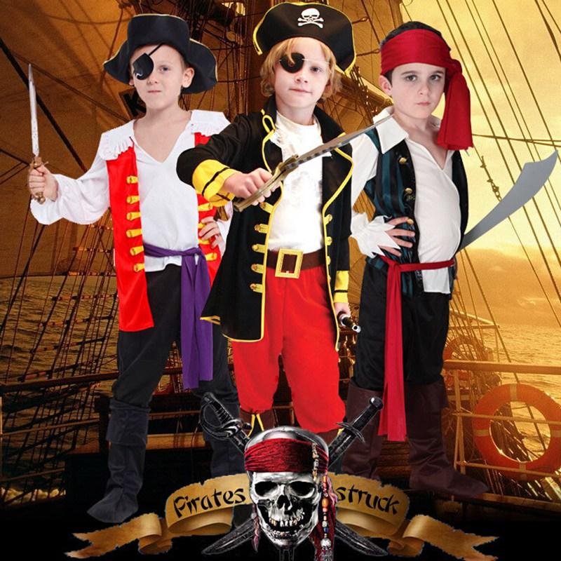 Disfraces de Carnaval de espectáculo de Halloween para niños, ropa de pirata privada Piratas del Caribe, traje de niños