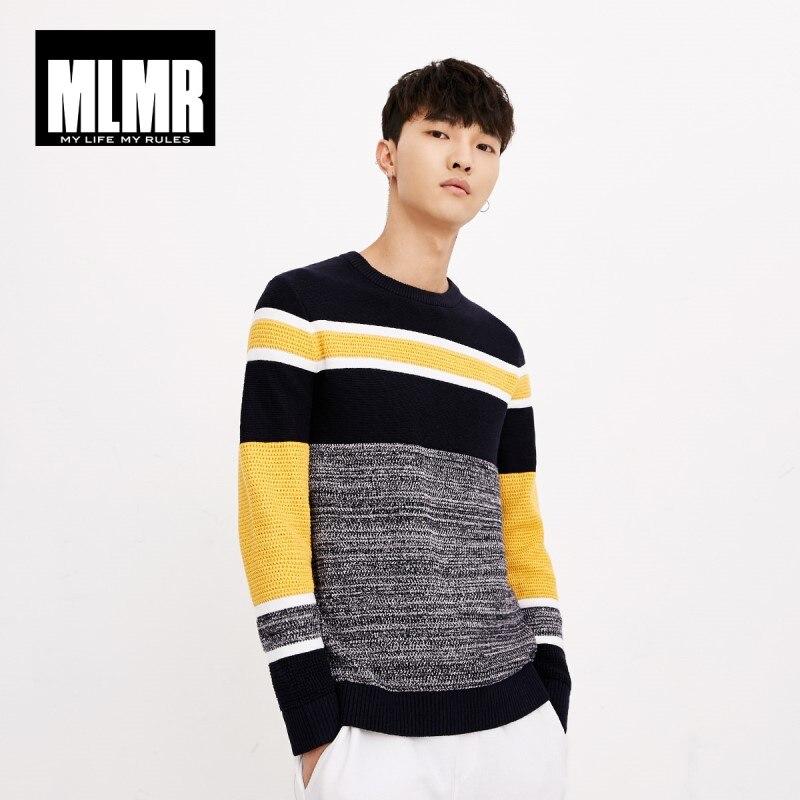 JackJones otoño tendencia de moda de los hombres cómodo algodón contraste Color costura Casual suéter superior para hombre 218324518