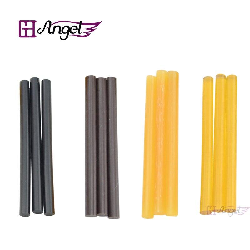 Barras de pegamento de queratina de 12 Uds 0,7*10 cm, pegamento de fusión, marrón, Rubio, negro y Rubio transparente, 4 colores en stock opcional