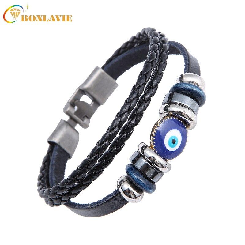New Best Punk Turkish Evil Eye Bracelets Wristband Double Layer Weave Leather Bracelet Ethnic Vintage Jewelry For Women Men