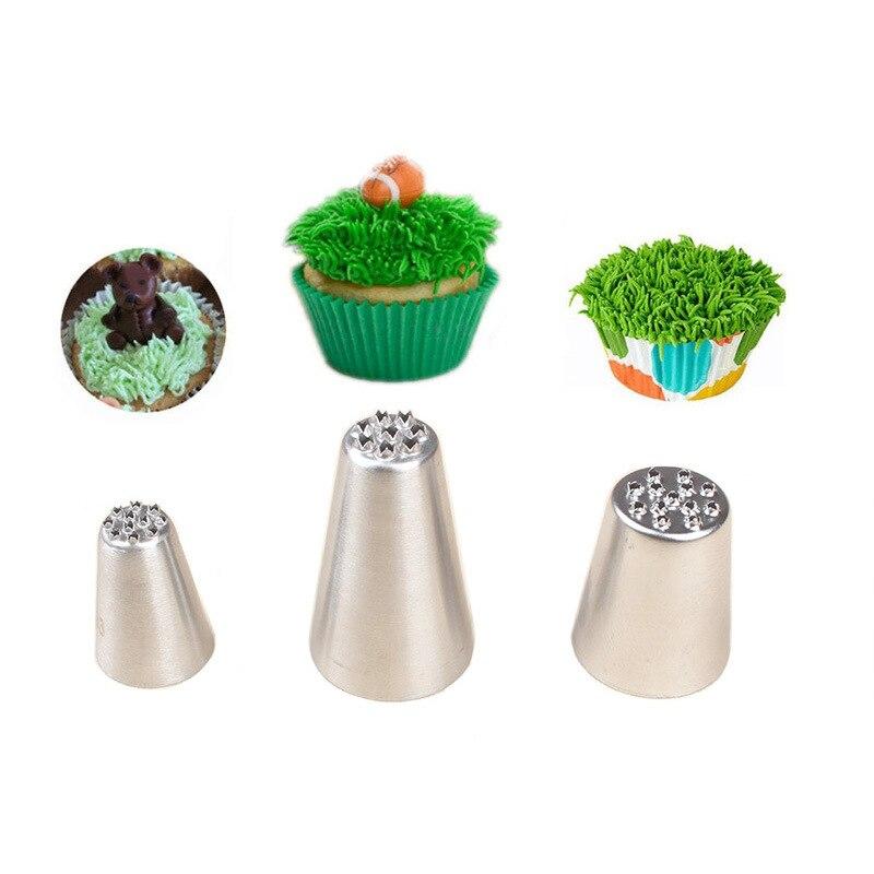 3 uds hierba piel pelo crema boquillas de acero inoxidable boquillas de pastelería para manga pastelera boquillas para decorar pasteles repostería herramientas