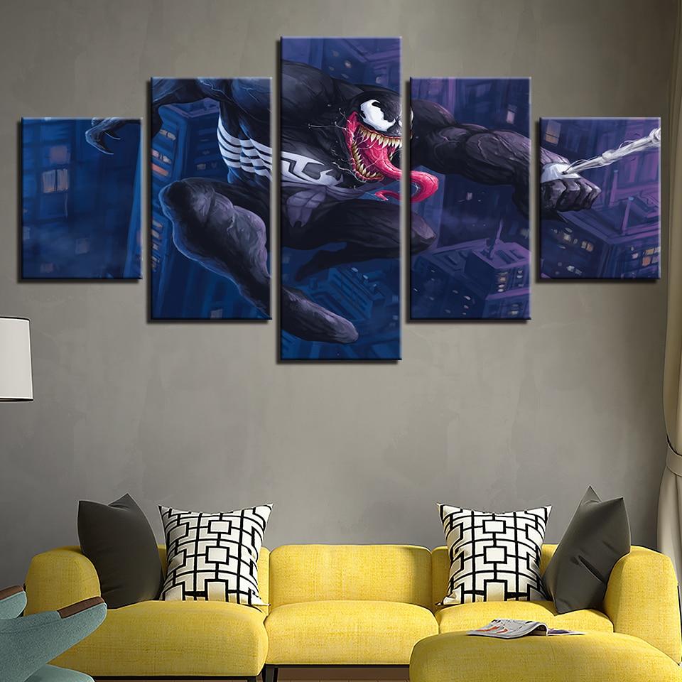 5 piezas de impresión HD gran Venom cómics de Marvel póster pintura lona arte de la pared imagen decoración del hogar sala de estar lienzo pintura