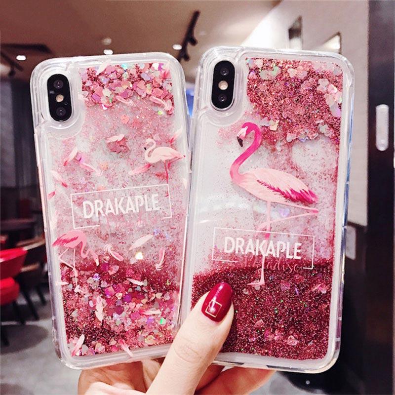 For Samsung Galaxy Note 5 8 9 S10 Lite S6 S7 Edge S8 S9 Plus A7 A9 A6 A8 J4 J6 J3 J8 2018 Liquid Glitter Quicksand Case Cover