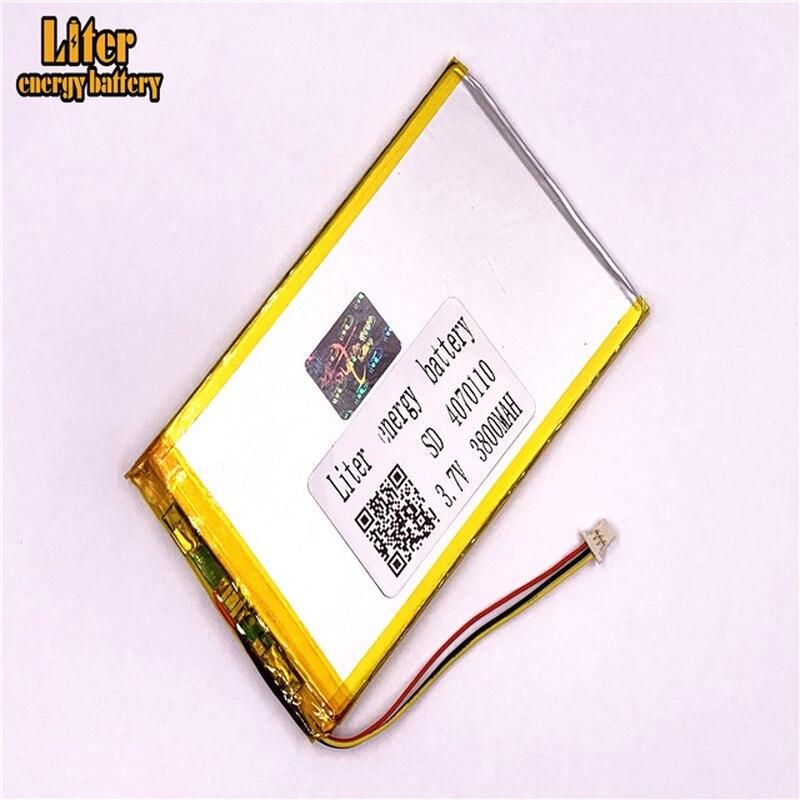 plug 1.0-3P 3.7v 4070110 3800mah tablet pc 7 inch MP4 MP5 Li-Polymer Li-Ion Lipo Lithium Battery
