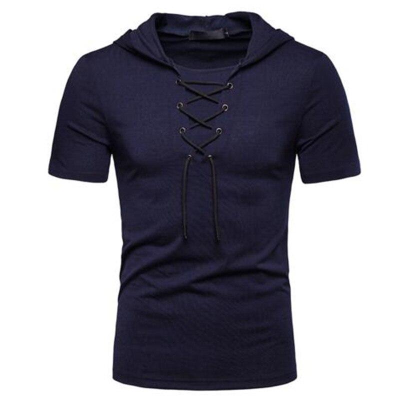 Camiseta deportiva de verano para hombre, camiseta informal con capucha, con encaje harajuku, camiseta de manga corta para hombre