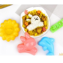 DIY Breakfast Riceball Maker Cartoon Animal Rabbit Dolphins Sushi Egg Rice Mold 4PCS/set Plastics Mould Tools