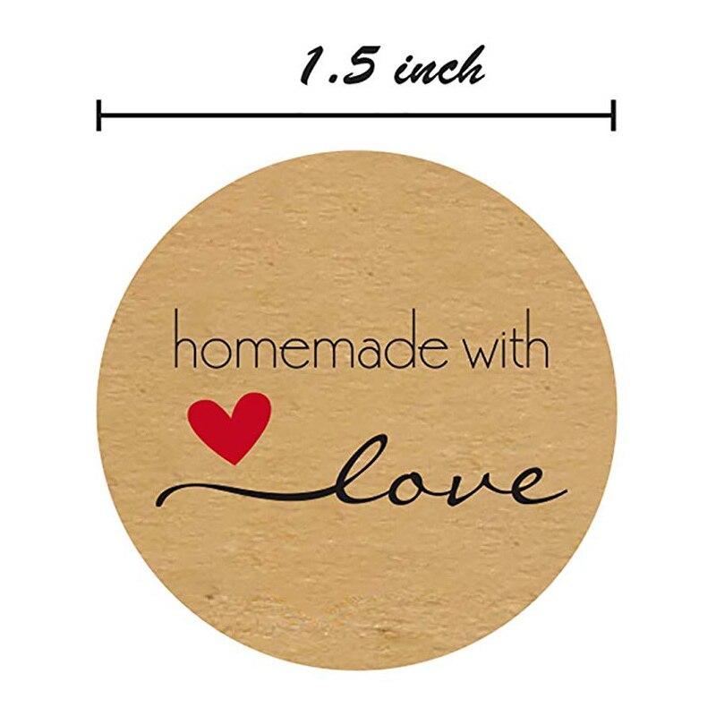1or1.5 pulgadas Kraft Natural redondo con pegatinas de amor adecuado para decoración de fiesta de regalo hecha a mano o casera/500 etiquetas por rollo