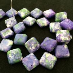 Roxo branco speckle pedra 14x14mm forma diagonal multicolor jasper contas loose jewelry making 15 polegada B337