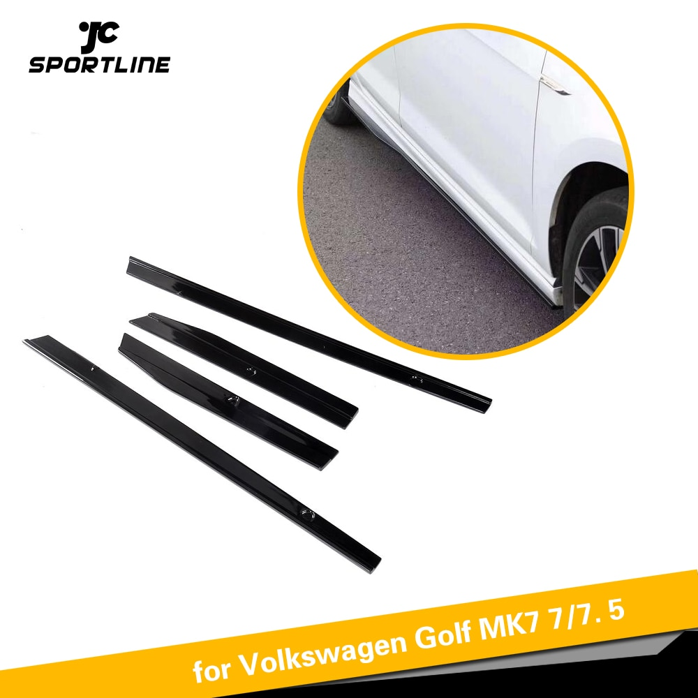 Preto pp saias laterais aventais porta protetor kit queixo guarda para volkswagen vw golf 7 7.5 r r linha hatchback 2014-2018 4 pc
