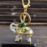 creative 3d enamel elephant keychain crafts key chain fashion key ring crystal animal bag pendant keyrings unique jewelry