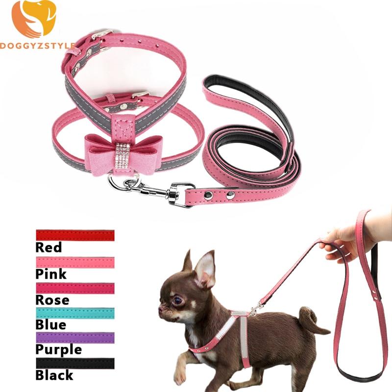 Светоотражающие Pet Поводок для собак и кошек с бантом со стразами замшевые