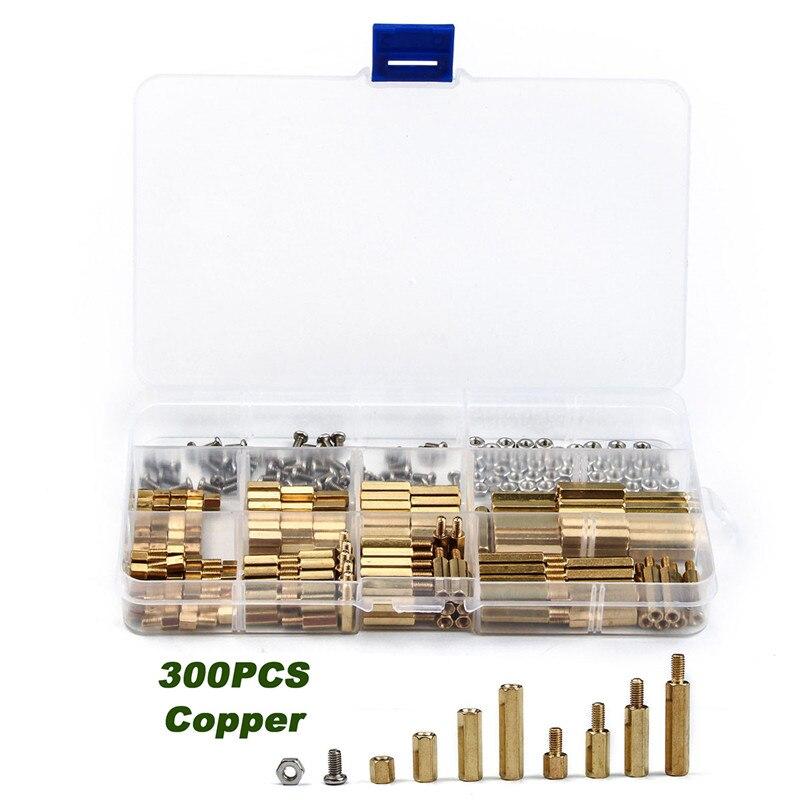 300PCS/set M3 Brass Copper Pillar Stand Off Hex Column Spacer Screw Nut and Cross Round Head Screw  Copper Pillar Kit
