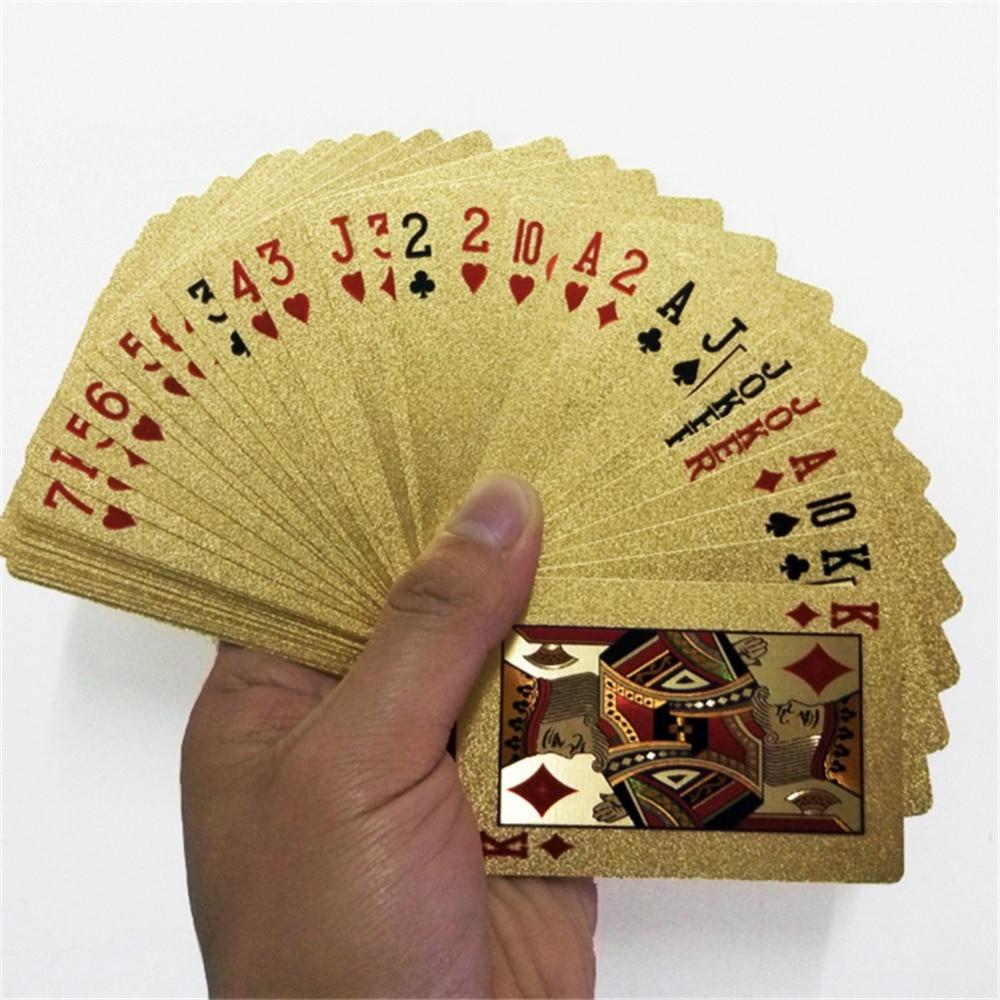 Baralho de jogo de poker, cartas douradas 24k, conjunto de plástico com revestimento dourado para poker, cartas mágicas à prova d'água