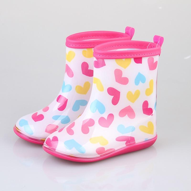 2019 Fashion Kids Rain Boots Girls children shoes Non-slip Rainboots Love pattern Waterproof Overshoes Water Shoes Rubber Shoe