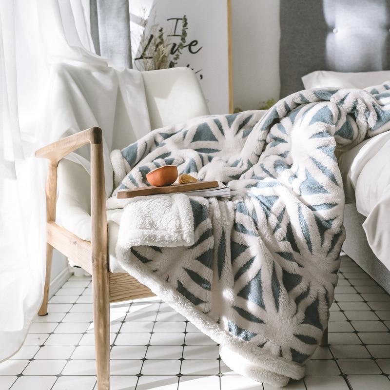 بطانية مزدوجة من الفلانيل ، سميكة ، هندسية ، دافئة على الوجهين ، للسيارة ، الطائرة ، الأريكة ، هدية ، الربيع والخريف