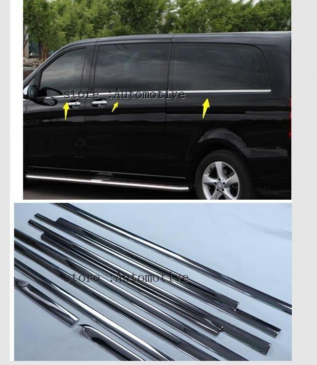 Acessórios da janela do carro capa guarnição para mercedes-benz vito 2016 2017 estilo (5370 cm abs chrome) (5140 cm de aço inoxidável)