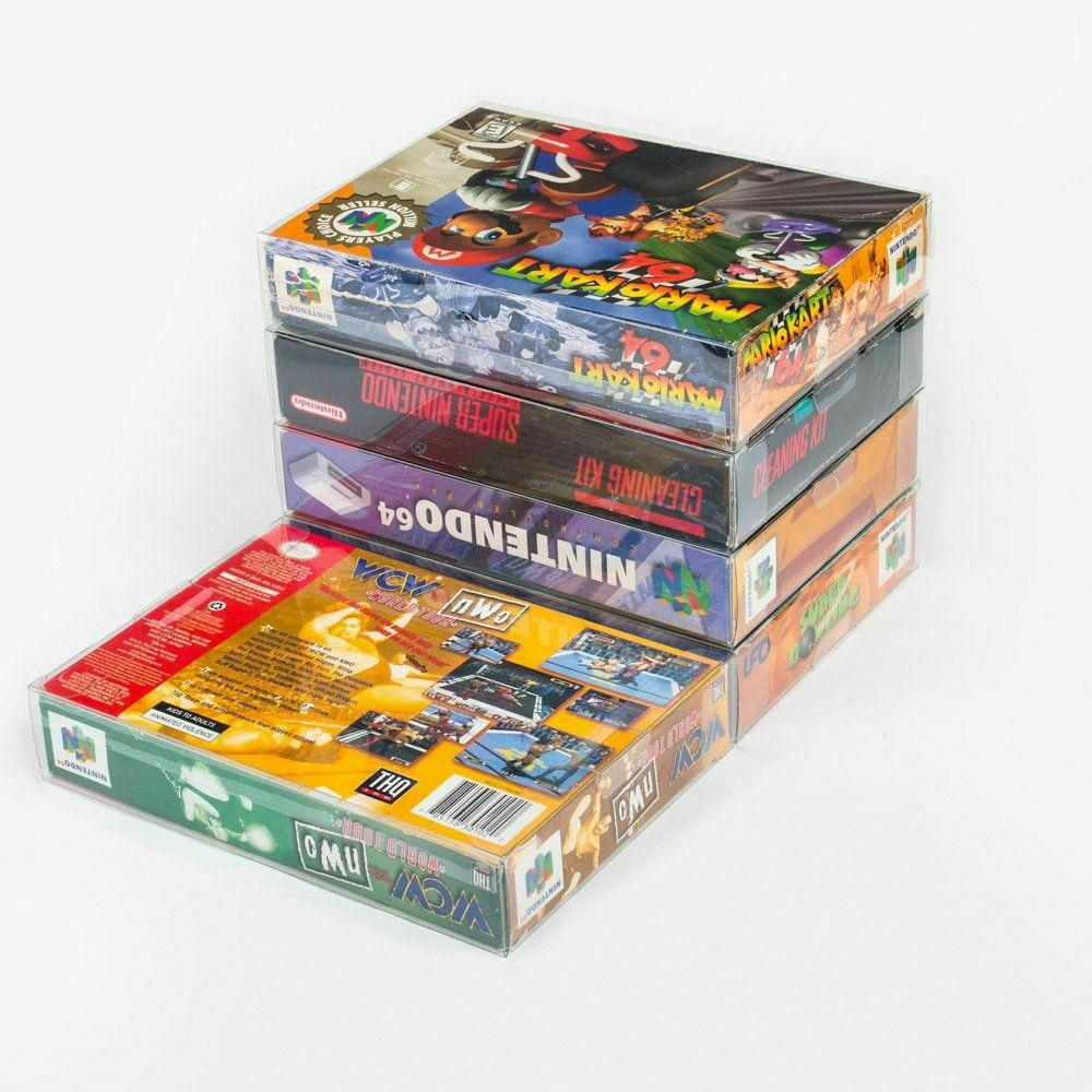 Ruitroliker 10 pièces boîte transparente étui manchon CIB protecteur pour SNES N64 jeux boîte à cartouche