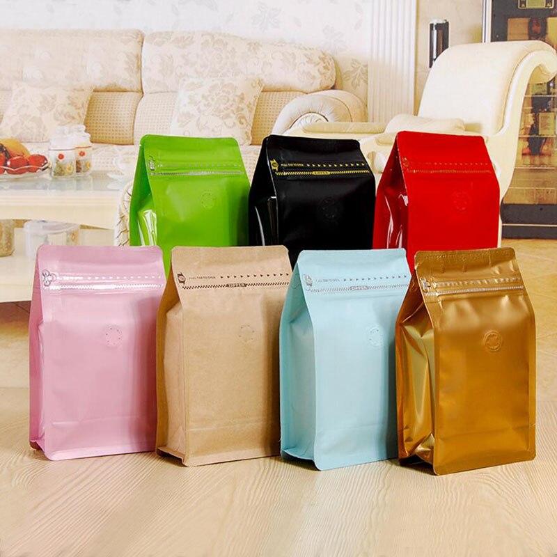 20 unids/lote, bolsa de caja bolsa de café de media libra de bolsillo con cremallera y válvula de desgasificación unidireccional, válvula de aire de papel de aluminio paquete para té bolsa