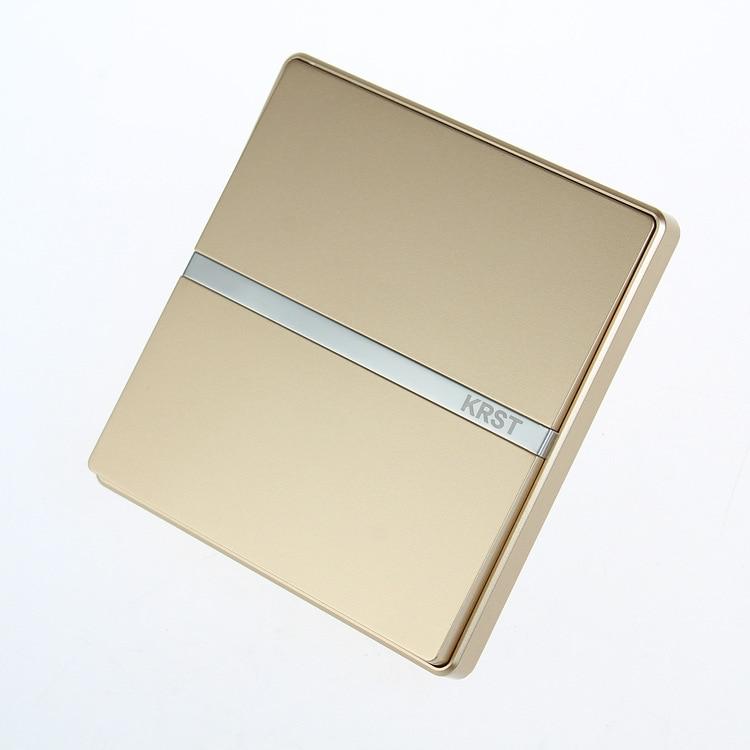 Toma de interruptor de pared para muebles del hogar, 86 placa grande oculta de Champagne Gold, interruptor de Control único, 10A PC 220V