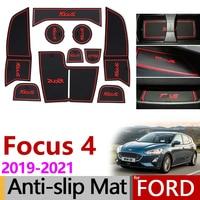 Anti-Slip Gate Slot Mat Rubber Coaster for Ford Focus 4 MK4 Focus 2019 2020 2021 ST RS Accessories Car Stickers 10Pcs Focus IV