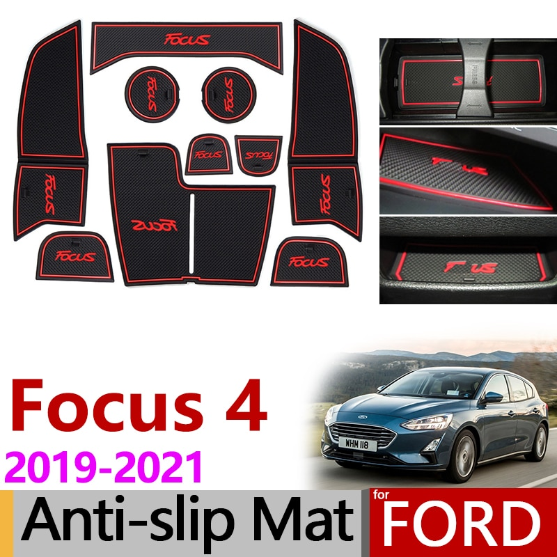 Posavasos de goma antideslizante para Ford Focus 4 MK4 Focus 2019 2020 2021 ST accesorios de RS pegatinas para coche 10 Uds Focus IV