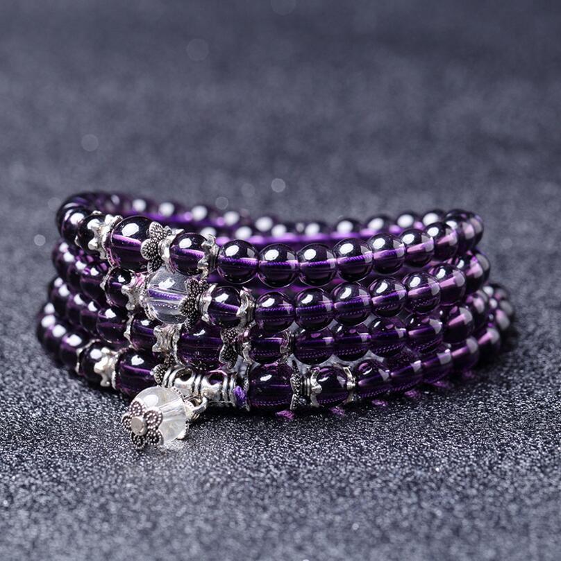 DIEZI Yoga Тибетский буддистский 6 мм Фиолетовый кристаллический 108 натуральные камни, бусы Многослойные жесткие браслеты браслет мужские и женские украшения