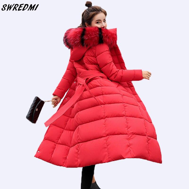 SWREDMI 2019 חדש Slim X-ארוך חורף מעיל נשים Sashes עיבוי חם מעיילים למטה כותנה מרופדת מעיל להאריך ימים יותר חורף בגדים