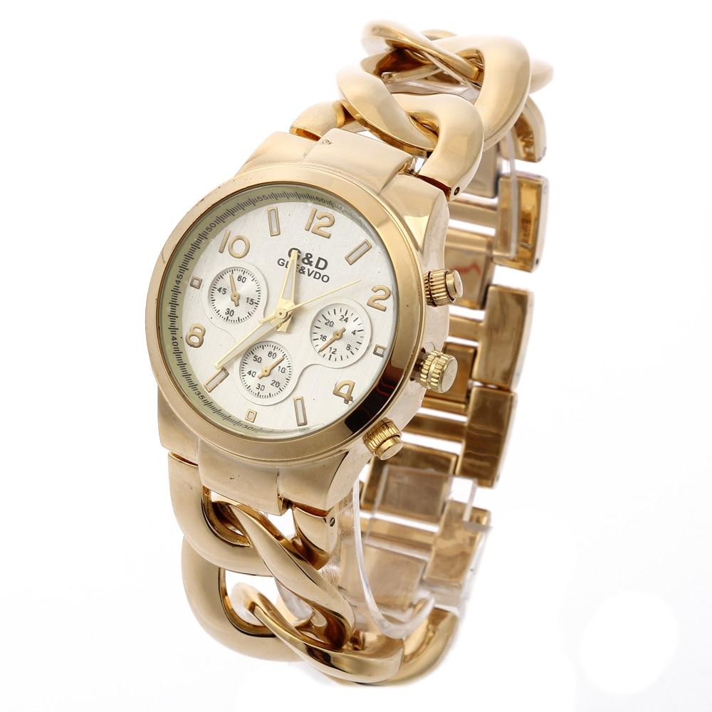 Reloj femenino G & D para Mujer relojes de cuarzo dorado de acero inoxidable de moda Reloj de lujo para Mujer relojes de hora para Mujer Regalos