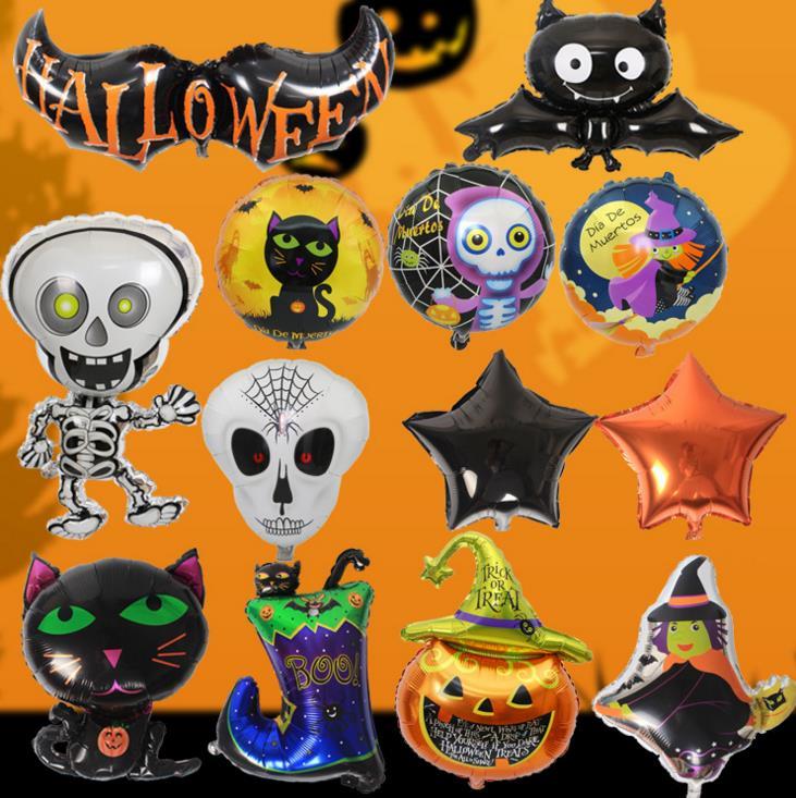Украшение для вечеринки на Хэллоуин с привидениями, фольга, шар, скелет, страшный призрак, летучая мышь, тыква, фольга, гелиевые шары, цветной...