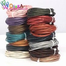 OlingArt cordons en cuir 3mm 5M artisanat perle ronde véritable perles cordon/corde/fil/chaîne bracelet à bricoler soi-même ras du cou collier fabrication de bijoux