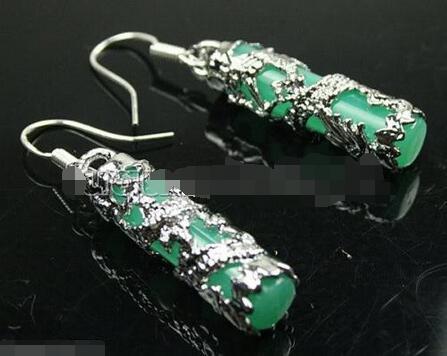 ¡Venta directa de fábrica! ¡precio al por mayor! Piedra 925 CZ joyería fina bonita incrustación Imperial piedra verde Natural 925 pendientes