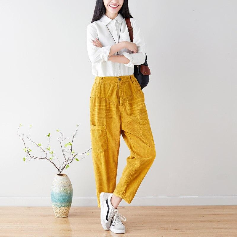 Mujer Retro Simple Casual pantalones de pana lavado viejo Harlan gran tamaño recto moda Pantalones
