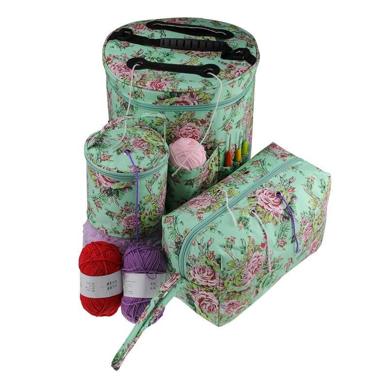 Yarn Storage Bag Peony Flower Empty Knitting Tote Bag Home Crochet Hooks Wool Organizer Knitting Needle Sewing Tools Organizer