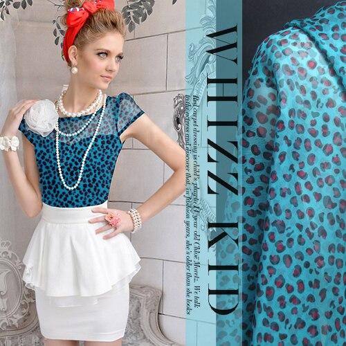 100% шелк синий леопард действительно Siou органзы ткани оптом высокого качества шелковая одежда ткань