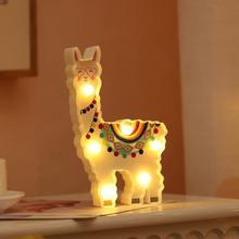 Cute Animal Shape LED Night Lamp Hanging Desktop Battery Powered Cute Light Gift Bedside Path Alpaca Shape Decor Night Light