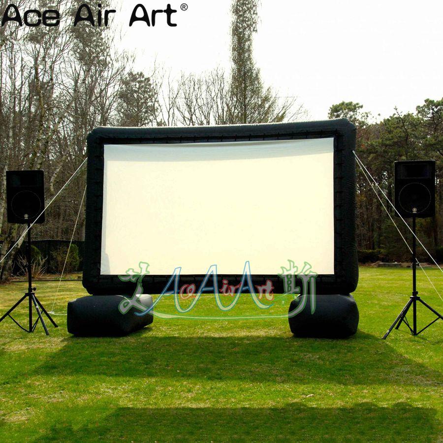 Modelo de pantalla de película inflable de 4 m H TV para patio, pantalla de película inflable portátil con soplador de aire