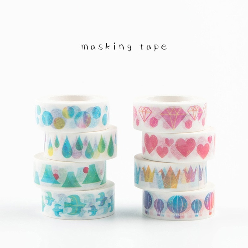8 unids/lote de cintas de enmascarar de papel corazón kawaii pájaro de diamante washi etiquetas con cinta adhesiva para diario papelería FJ147