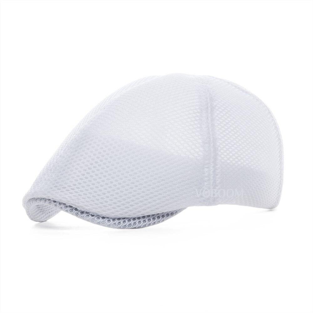 VOBOOM Summer White Flat Cap Men Women Breathable Newsboy Caps 6 Panel Lightweight Driver Beret Hat Baker Boina 125