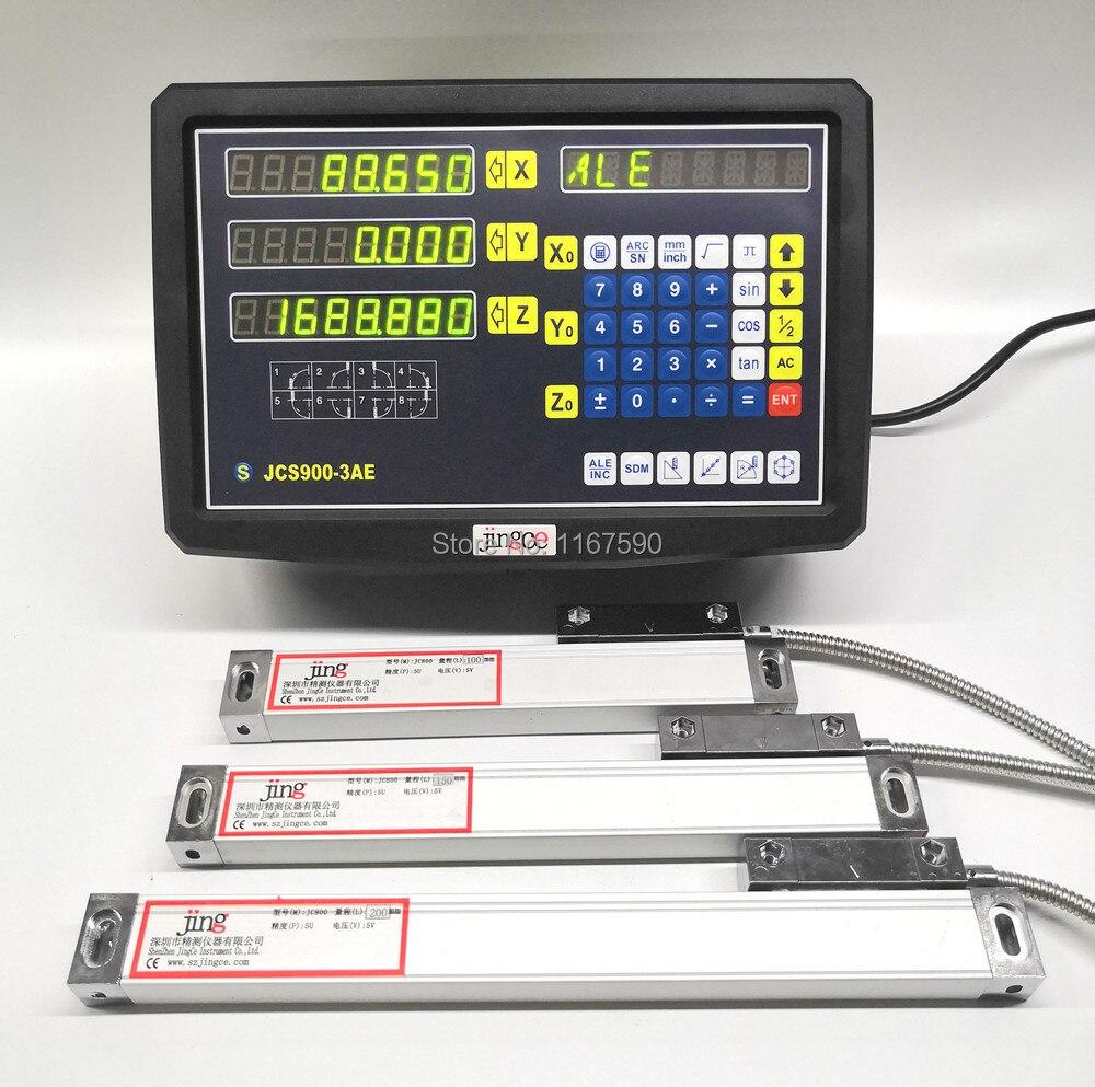 EU USA 3 Achsen digital anzeige mit lineare skala 100-1020mm 5um Res lineare encoder komplette dro kits