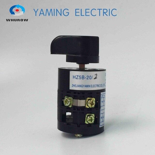 Interruptor giratorio HZ5B-20/2 interruptor de combinación de leva de conmutación con 20 a Ui 500V 50Hz 2 polos 3 posiciones contactos de punto plateado