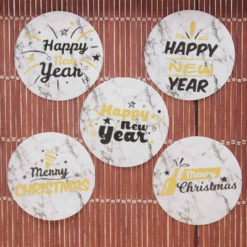 100 шт 3 см Микс Дизайн Золотая фольга с новым годом наклейки для подарков Этикетка белая бумага Мейбл фон Веселые chrsitmas подарки этикетки