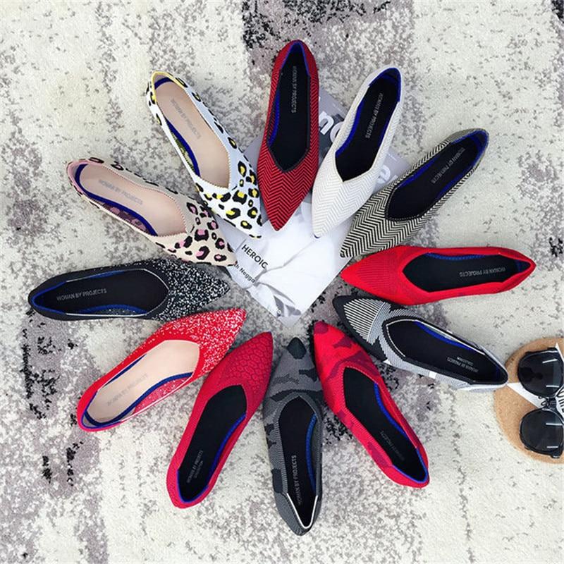 2021 Women's Flat Shoes Ballet Shoes Breathable Knit Pointed Shoes Moccasin Mixed Color Women's Soft Shoes Women Zapatos De