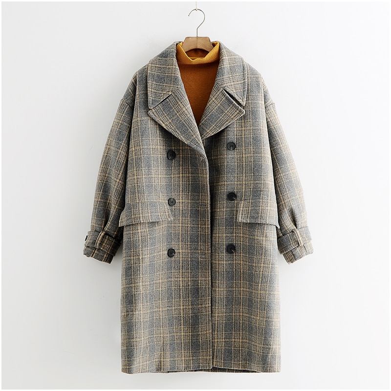 TAJIYANE abrigo largo de Invierno las mujeres Mujer coreana chaqueta cuadros Vintage...