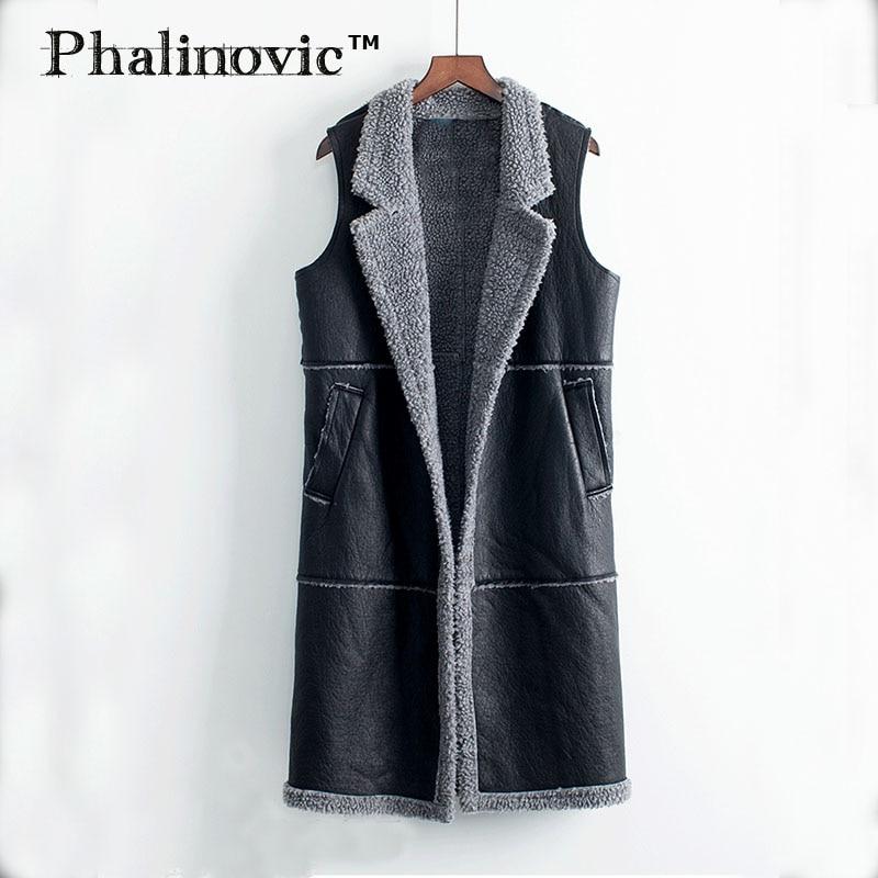 Phalinovic, chaleco de cuero para mujer, chaleco Extra largo para mujer, chaqueta negra sin mangas para mujer, ropa de otoño e invierno para Rusia, ropa interior de piel
