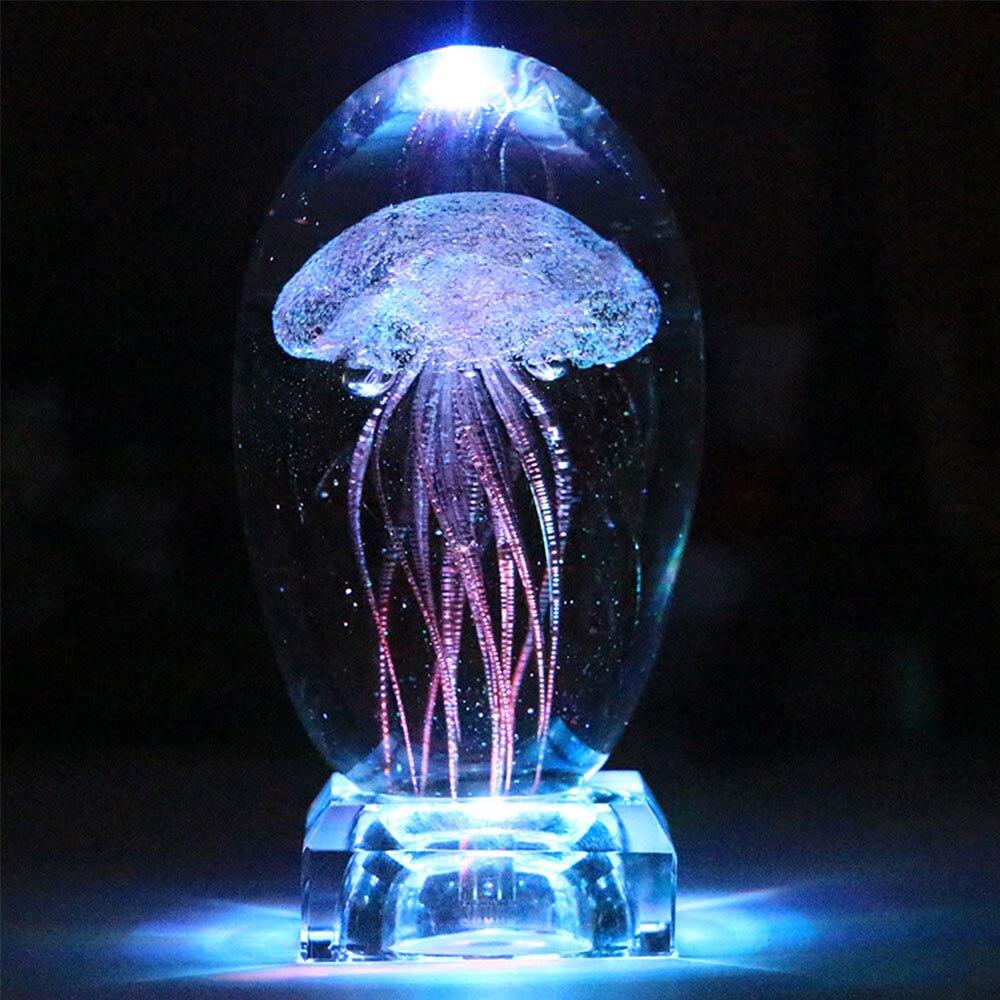Lámpara LED de medusas de cristal, lámpara LED de mesa con cambio de Color, lámpara de noche para niños, regalos para niños, decoración del hogar