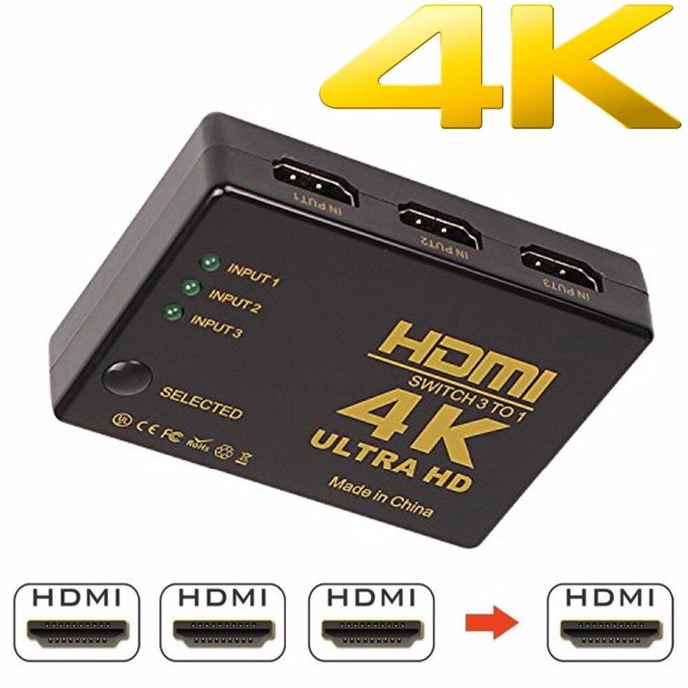 1080P 4K * 2K HDMI видео переключатель HDMI сплиттер 3 входа 1 выходной порт концентратор для DVD HDTV Xbox PS3 PS4
