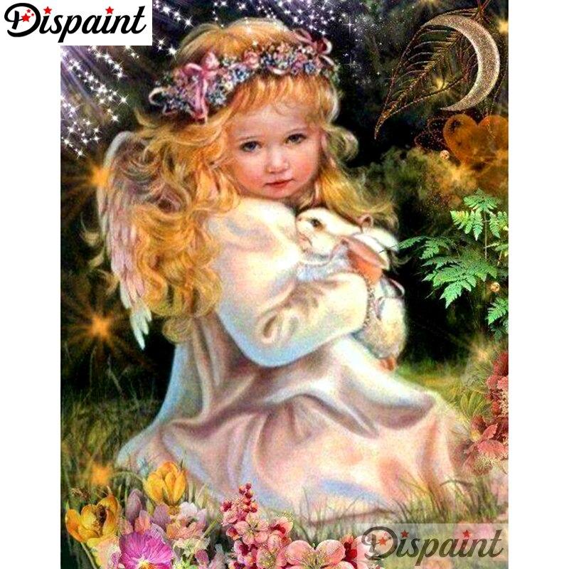 """Dispaint Full Square/redondo taladro 5D DIY diamante pintura """"Angel girl"""" bordado punto de cruz 3D decoración para el hogar A10519"""