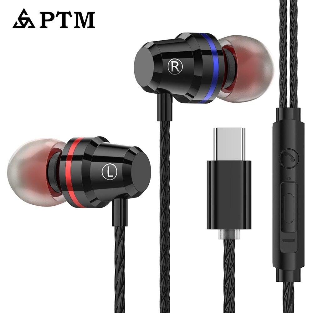 PTM M4 USB tipo C auriculares bajos con micrófono para Huawei Xiaomi 6 6X8 Mix2 note3 Nubia z17 Oneplus Letv auriculares